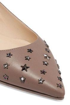Jimmy Choo - Willis Embellished Leather Point-toe Flats - Mushroom - IT36.5