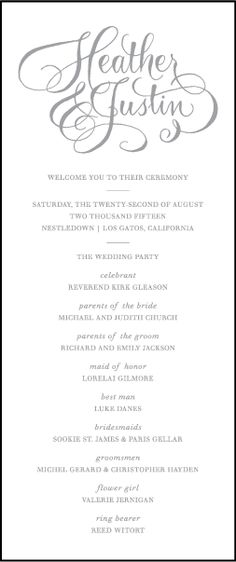 elegant wedding programs single sided flat programs fast