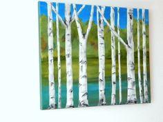 WHITE BIRCH TREE Original Acrylic Painting 16 x by MyHumbleJumble, $50.00