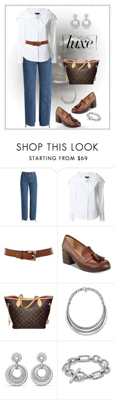 """""""Untitled #2812"""" by amdavis1218 ❤ liked on Polyvore featuring Vetements, Theory, Karen Millen, BareTraps, Louis Vuitton and David Yurman"""