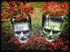 Frankenstein Flowerpots by KatBones on Etsy Halloween Ii, Holidays Halloween, Halloween Crafts, Halloween Decorations, Halloween Ideas, Halloween Ornaments, Happy Halloween, My Favorite Color, My Favorite Things