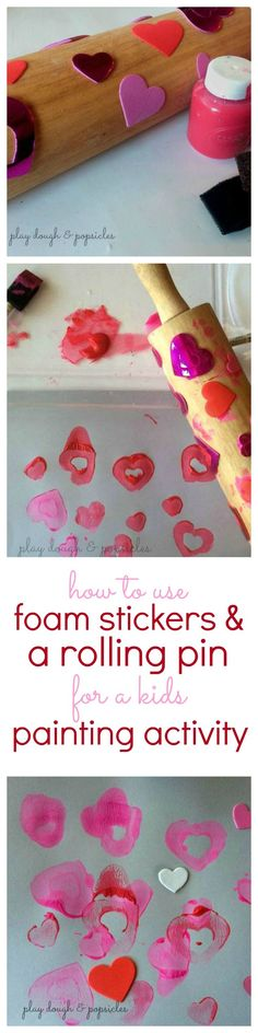 Foam Sticker & Rolling Pin Painting Activity for kids. This is a great process art activity for preschool age or toddlers.