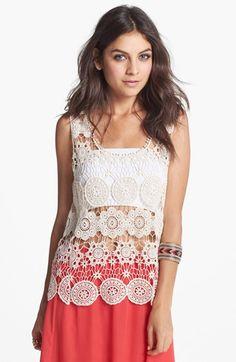 Crochet tank + Coral Skirt