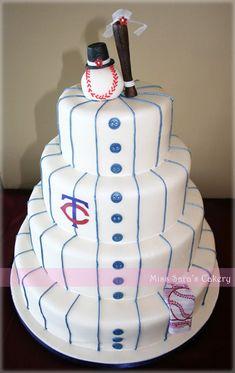 baseball themed wedding cake