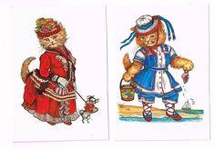Vintage Victorian Cat Postcards / Evelyn by FunkydevazVintage, $10.00