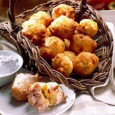 Apple Fritters Recipe Eat these apple fritters hot with all the powdered sugar you can stand. Apple Fritter Recipes, Apple Recipes, My Recipes, Dessert Recipes, Cooking Recipes, Favorite Recipes, Pastry Recipes, Like Water For Chocolate, Tapas