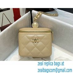 Chanel Pearls Iridescent Grained Calfskin Small Vanity Case with Chain Bag AP2161 Beige 2021