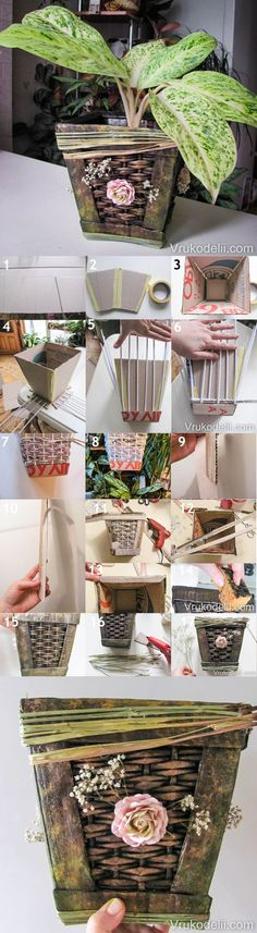 DIY Retro Paper Planter from Old Newspaper | www.FabArtDIY.com LIKE Us on Facebook ==> https://www.facebook.com/FabArtDIY