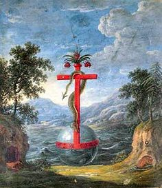 """Two typical symbols of alchemy: the """"globe Crucifer"""" and the serpent crucified together into a single image  is by Zoroaster, a manuscript of the seventeenth century hermetic"""