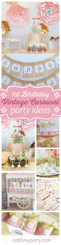Don't miss this stunning Vintage Carousel 1st Birthday Party. The birthday cake is spectacular!!!