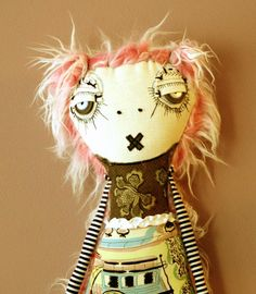 Pinky the monster Plush Art Doll By ThEm DoLLz by themdollz, $80.00