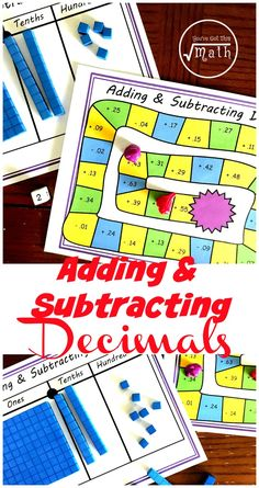 Grab this free adding and subtracting decimal game to allow children more practice at adding and subtracting decimals using base ten blocks. Teaching Decimals, Math Fractions, Dividing Fractions, Equivalent Fractions, Adding Decimals Activity, Teaching Math, Multiplication Facts, Teaching Tips, Decimal Games