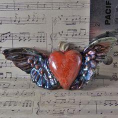 Handmade Flying Heart Raku by oscarcrow on Etsy, $15.00
