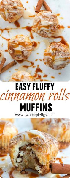 Tender, fluffy and super easy cinnamon rolls muffins--ready in 20 mins! The perfect way to curb up any cinnamon rolls cravings! www.twopurplefigs.com