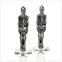 Silver Skeleton Candles