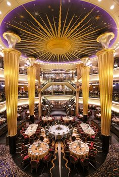 Dress up for formal night to dine in the main dining room of Voyager of the Seas.