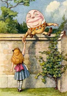 A personified egg named Humpty Dumpty sat on a tall wall. He fell off, cracked and broke apart. Everyone in the city wanted to put him back together, but they couldn't.