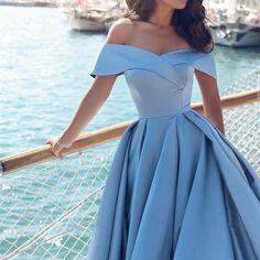 Blue Off-the-shoulder Ball Gown Split Princess Beach Prom Dresses Quinceanera Dresses PM120