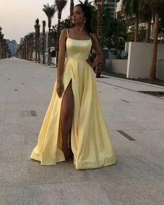 Pretty Prom Dresses, Simple Prom Dress, Backless Prom Dresses, Tight Prom Dresses, Split Prom Dresses, Hoco Dresses, Winter Formal Dresses, Dress Winter, Yellow Formal Dress