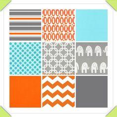 Custom Crib Bedding - 2 piece Set, orange aqua grey