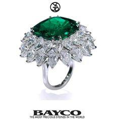 The Pristine Emerald...a 22 carat cushion Colombian Emerald set in a ring with a double surround of pear shaped white diamonds. #BaycoJewels #beautifulbayco #emerald #diamond #hautejoiallerie #finejewelry #themostpreciousstonesintheworld #newyork #luxury