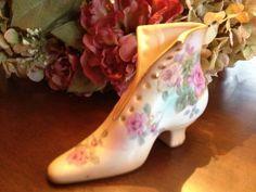 Vintage R s Floral Pastels Ceramic Shoe Prussia