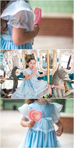 Janice Louise Photography | Delaware Portrait Photographer - Seniors, Families, Couples | Raleigh, North Carolina - Pullen Park Carousel | carousel, girl, child, lollipop, vintage dress, horse