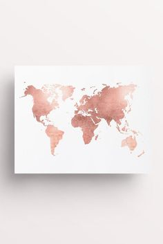 Rose Gold Map World Map Print Rose Gold Office by FleurtCollective