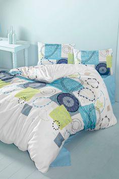 Vente DREAMNIGHTS / 22744 / Linge de lit / Motifs géométriques / Parure de couette Sila Turquoise et blanc