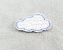 White Cloud Iron On Patch (S) -  Cloud cute Applique Embroidered Iron on Patch Size 2.8x3.7 cm