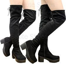 7ade310691c8 Ladies Women Over The Knee Thigh High Cleated Platform Mid Heel Boots Shoes  Size