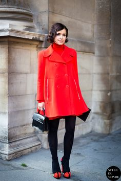 red coat with black tights