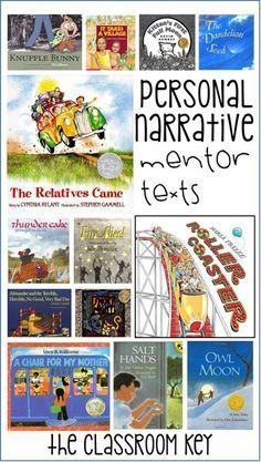 Personal Narrative Writing – The Classroom Key Where to start with personal narrative writing- using mentor texts, helpful for teaching writing in first, second, or third grade Narrative Writing Kindergarten, Writing Mentor Texts, Personal Narrative Writing, Personal Narratives, Writing Lessons, Teaching Writing, Writing Activities, In Kindergarten, Writing Workshop