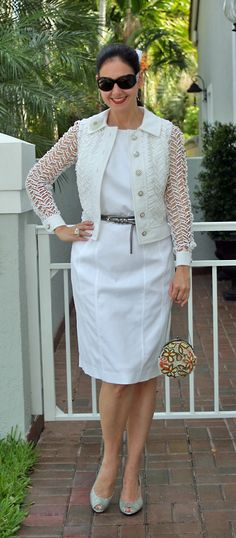 Ralph Lauren Cotton Pique Dress and Wrap Leather Belt; Giorgio Armani Sunglasses; Monet Frosted Flower Brooch; Vintage Guipure Lace Jacket; Anne Klein Slingback Leather Shoes; BCBG Max Azria Beaded Silk Bag.  Celebrating summer with an all-white outfit!  http://www.akeytothearmoire.com/post/23035071335/mothers-day