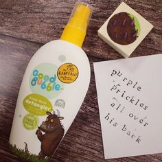 Perfect for taming those purple prickles and all other little persons' tangley locks.  The Gruffalo Grizzley Mane detangler #goodbubble  #Gruffalo