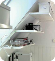 sloped wall shelves (http://www.ikea.com/us/