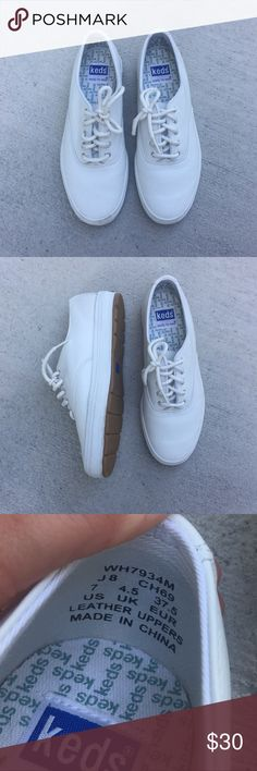 Keds • Classic White Sneakers Women's classic white Keds sneakers. In great condition but have a few very minor scuff marks on them. Size 7. Leather uppers. Keds Shoes Sneakers