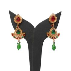 Red and Green Stone Studded Earring