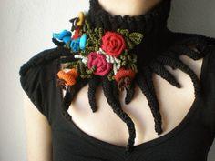 Elan ... knitted scarflette  - black neck warmer with red, magenta, orange, blue crochet flowers