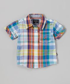 Nautica Orange & Blue Plaid Button-Up - Infant, Toddler & Boys by Nautica #zulily #zulilyfinds