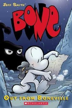 Fone Bone, Phoney Bone, and Smiley Bone are run out of their home, Boneville, and become separated in the wilds, but better fortune begins when the three cousins reunite at a farmstead in a deep forested valley, where Fone meets a young girl named Thorn.  741.5 SMI