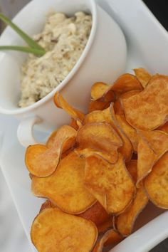 Homemade Sweet Potato Chips with a decadent Caramelized Onion Dip
