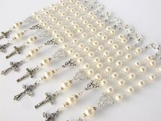 Rosary Favors Set of 10  Ivory Pearl Mini Rosary by AngelRosaries