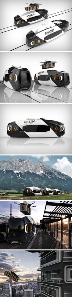 The Iris was developed as a concept to help Amazon get their deliveries done a whole lot faster. These massive electric trains would carry Amazon cargo via rail to different parts of the country. However, upon reaching a destination, last-mile delivery of packages would be made via drones that dock inside the top of the train.
