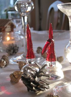 Santa, Christmas glass ornaments, This is made at Hadeland Glassverk in Norway.