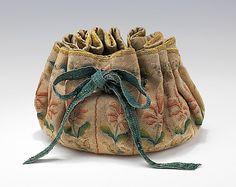 Bag (Gaming Purse), French, 1690-1710, silk, linen (fine petit point needlework). Metropolitan Museum of Art.