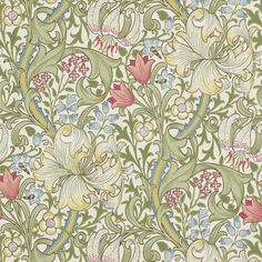 GOLDEN LILY PALE BISCUIT En av de mest berömda Morris-tapterna, mönster från 1899, William Morris & Co.