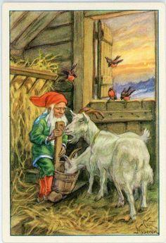 Curt Nyström-Stoopendaal Norwegian Christmas, Christmas Mood, Christmas Gnome, Scandinavian Christmas, Postcard Art, Antique Christmas, Christmas Illustration, Acrylic Art, Beautiful Christmas