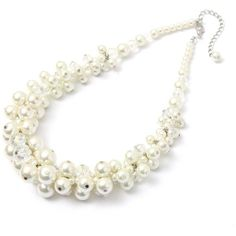 Big Pearl Crystal Statement Necklace ($7.24) ❤ liked on Polyvore featuring jewelry, necklaces, crystal stone necklace, pearl jewelry, white pearl necklace, pearl jewellery and white jewelry