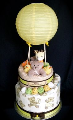 Hot Air Balloon Themed Diaper Cake www.facebook.com/DiaperCakesbyDiana